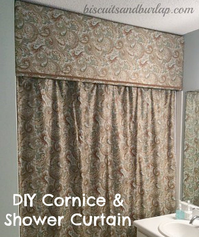 Bathroom Curtain Ideas Diy: Shower Curtain With Cornice Board