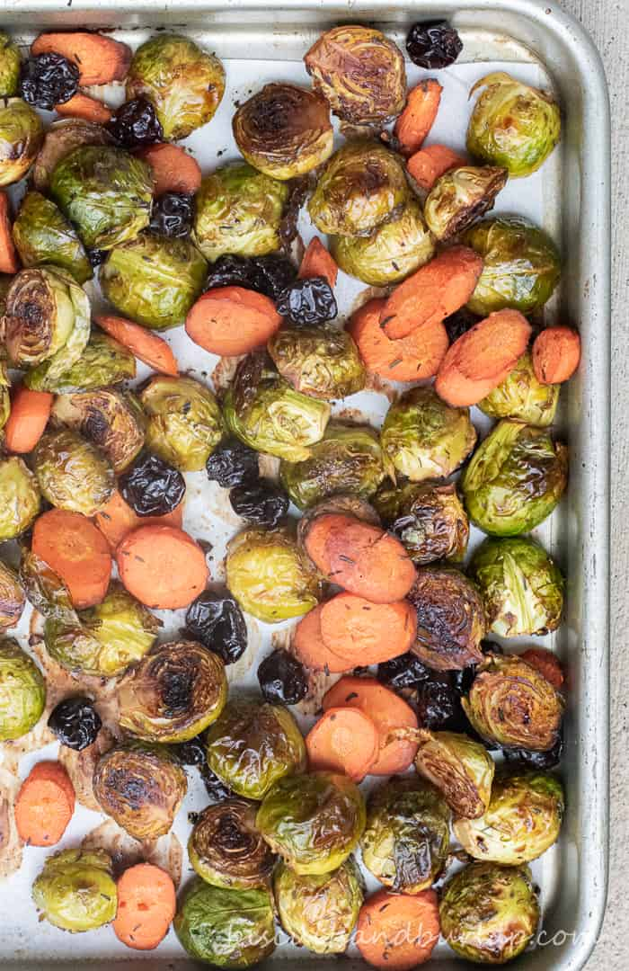 brussel sprouts and carrots on sheet pan