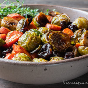 roasted brussel sprouts in pottery bowl
