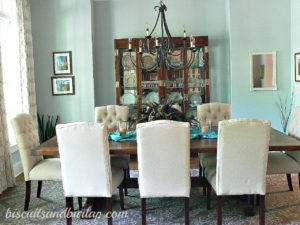 Southern Home Tour Dining Room in Sherwin-Williams Sea Salt