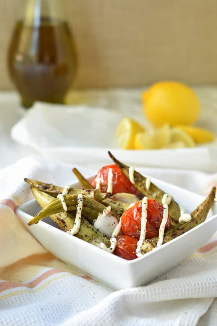 Grilled Okra and Tomatoes with Garlic Lemon Aioli