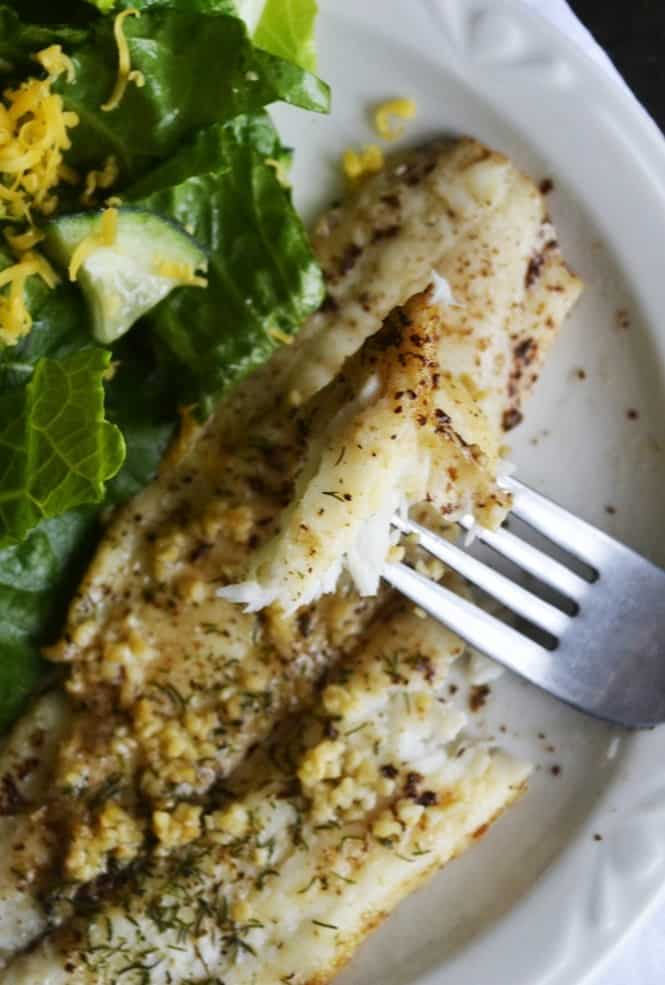Garlic, Dill and Brown Butter make this flounder special