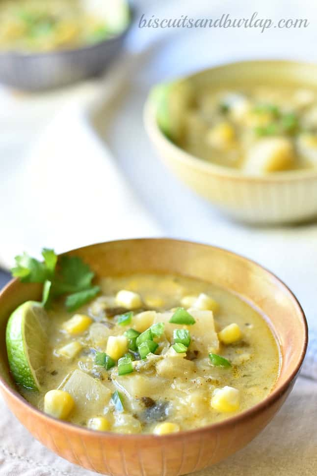 Roasted Poblano Corn Chowder | Biscuits & Burlap