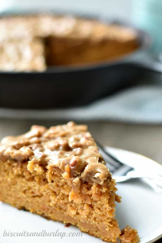 Sweet Potato Cake with Pecan Praline Icing from BiscuitsandBurlap.com is the perfect fall dessert.