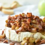 Baked Brie with Bacon & Apples is easy, yet impressive from BiscuitsandBurlap.com