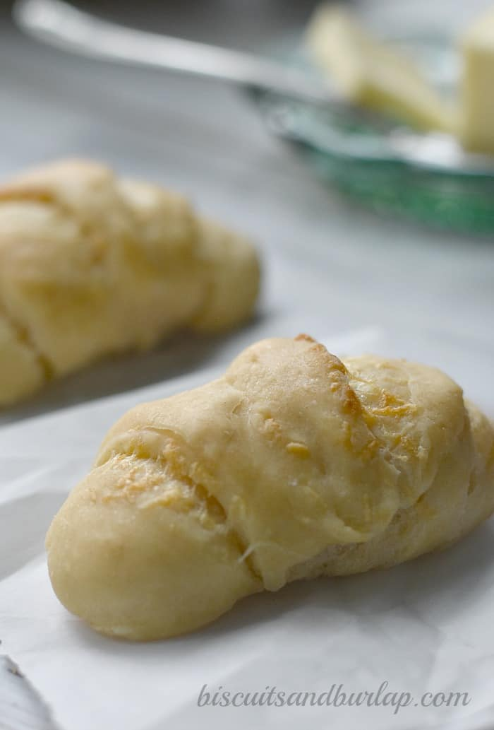 Homemade parmesan crescent rolls are easy enough for beginning bakers from BiscuitsandBurlap.com