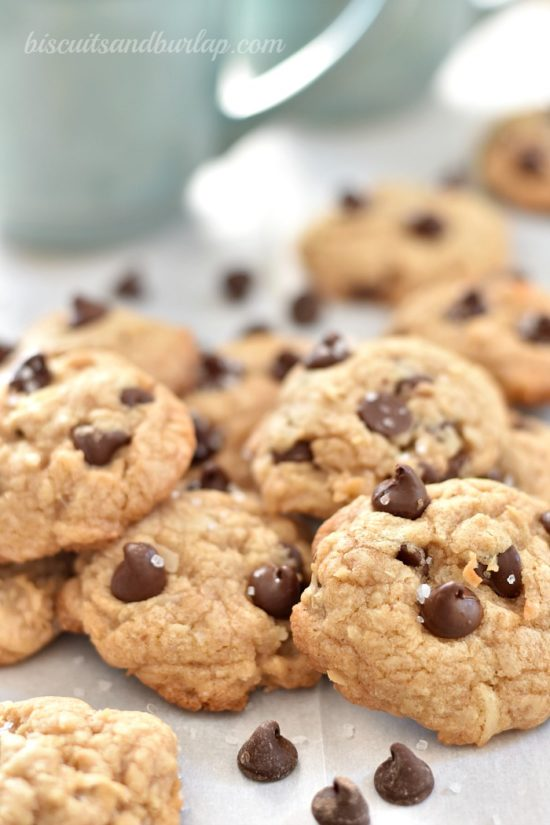 Cookies with coconut, chocolate chips, brown butter and sea salt