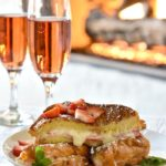 french toast with champagne and fireplace
