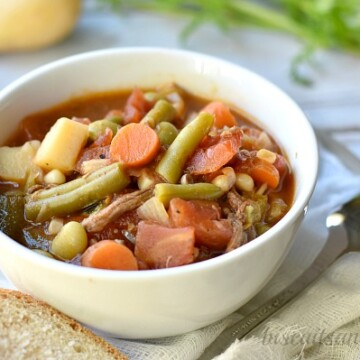 Old fashioned southern style vegetable beef soup from BiscuitsandBurlap.com