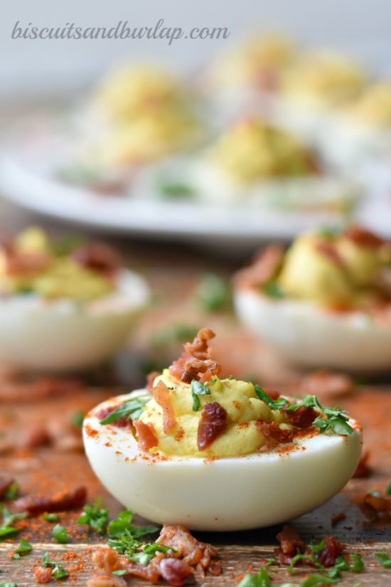 Deviled eggs with a twist from BiscuitsandBurlap.com