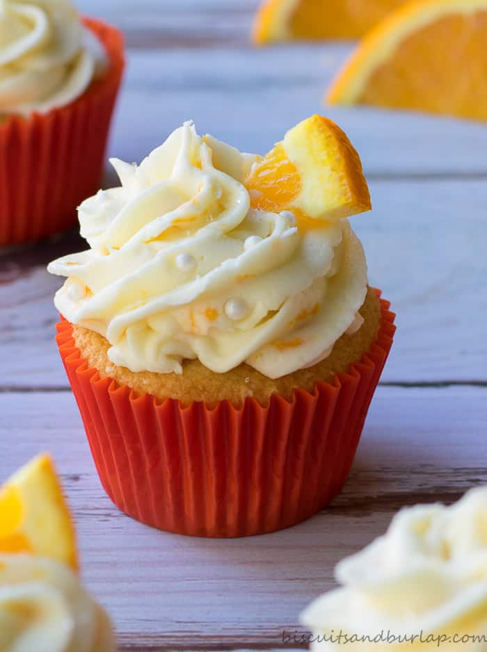 Orange Cupcakes With Cream Cheese Frosting Biscuits Amp Burlap