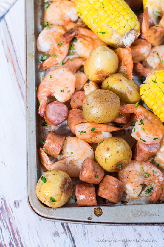Low Country Boil Sheet Pan Dinner from BiscuitsandBurlap.com