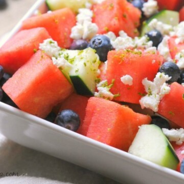 Watermelon salad with feta cheese, blueberries, cucumber, and a lime vinaigrette from Biscuits & Burlap