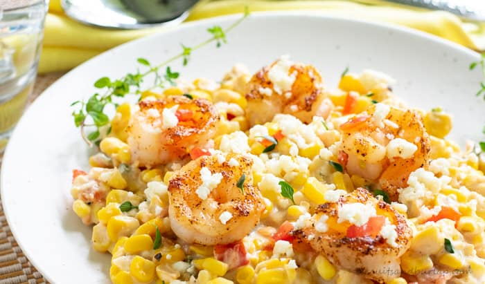 Fresh corn and Peppers are a delicious vegetarian dish, but can be topped with shrimp