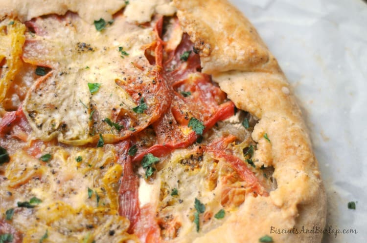 Tomato goat cheese galette from bsicuitsandburlap.com