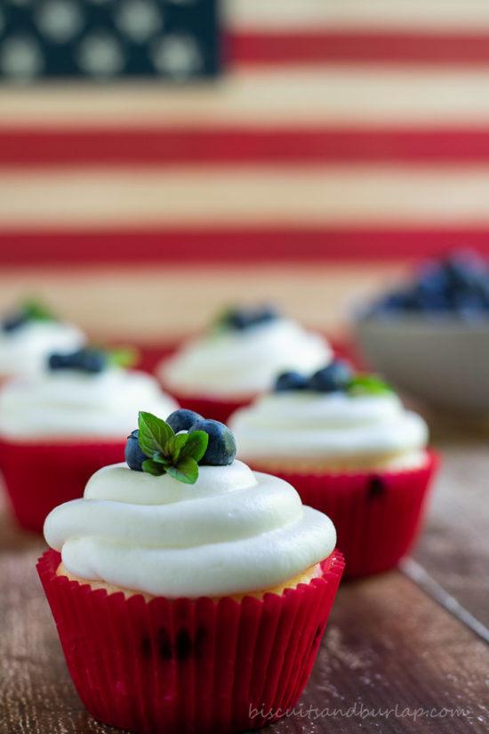 blueberry cupcakes with cream cheese frosting from BiscuitsandBurlap.com