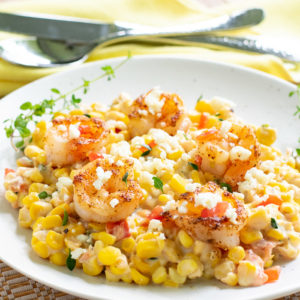 fresh corn with shrimp