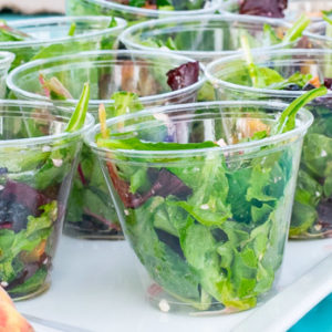 Salad with peaches, blackberries, pecans and basil vinaigrette