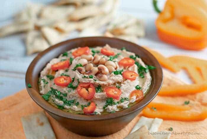 Blackeyed Pea Hummus makes a fun, southern appetizer.