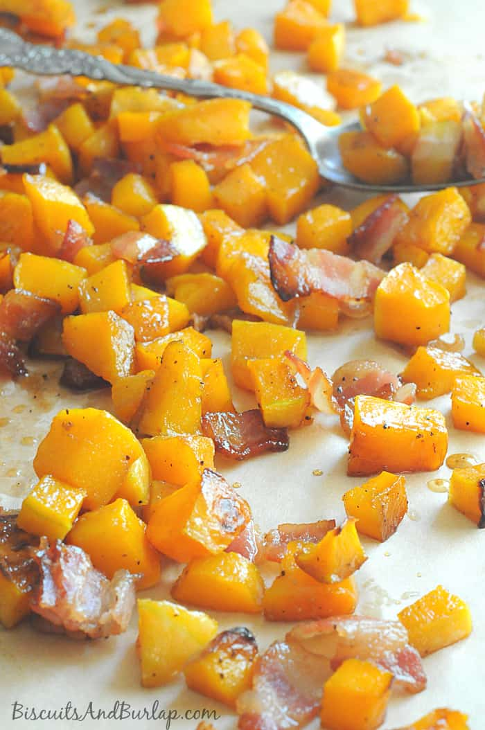 Maple Bourlbon Butternut Squash with Bacon
