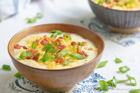 This easy potato soup comes together easily using baked potatoes and is just the way you like it when garnished with all of your favorite toppings.
