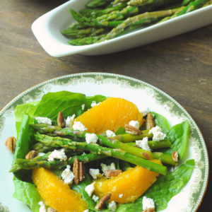 Salad with Oranges, marinated asparagus, and goat cheese
