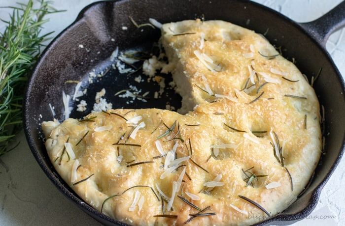 skillet focaccia bread is fragrant and delicious. It's perfect for a first-time bread baker.