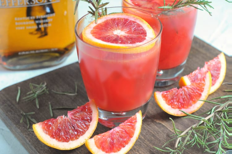 Blood Orange Bourbon Cocktail with Rosemary Simple Syrup