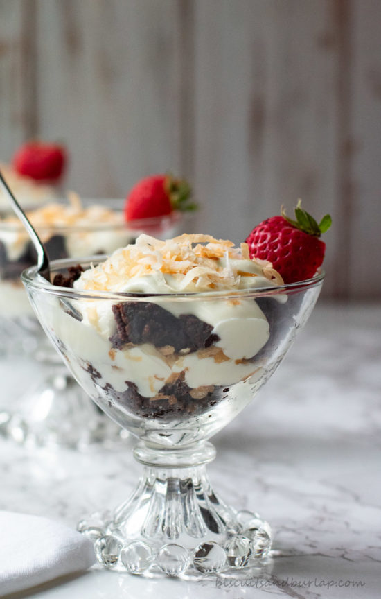mini chocolate trifles layers of brownie crumbles, creamy cheesecake and toasted coconut