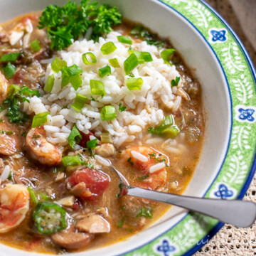 Gumbo with seafood, sausage and chicken from our family recipe.