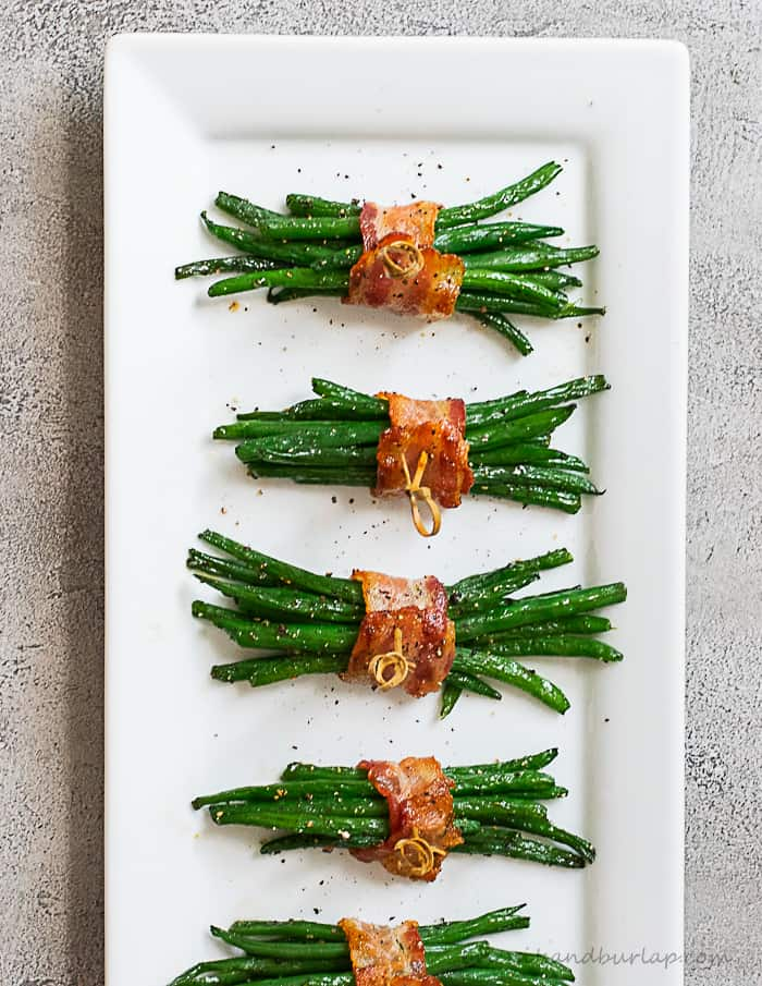 green beans bundled with bacon make an elegant, but easy side dish