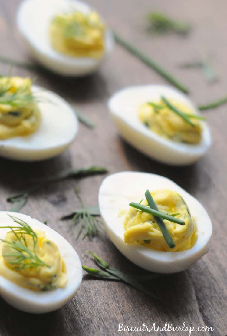 Garlic Herb Deviled Eggs from Biscuits & Burlap