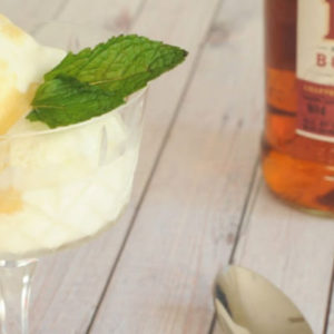 Mint Julep Ice Cream with Warm Bourbon Sauce