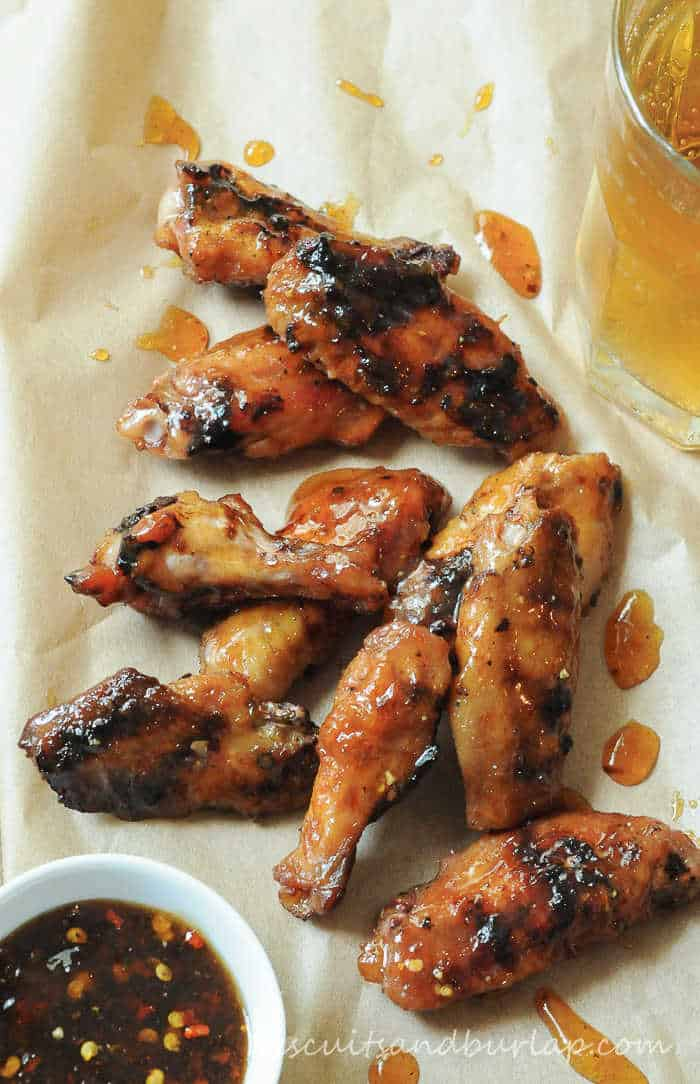 Peach Glazed Grilled Chicken Wings
