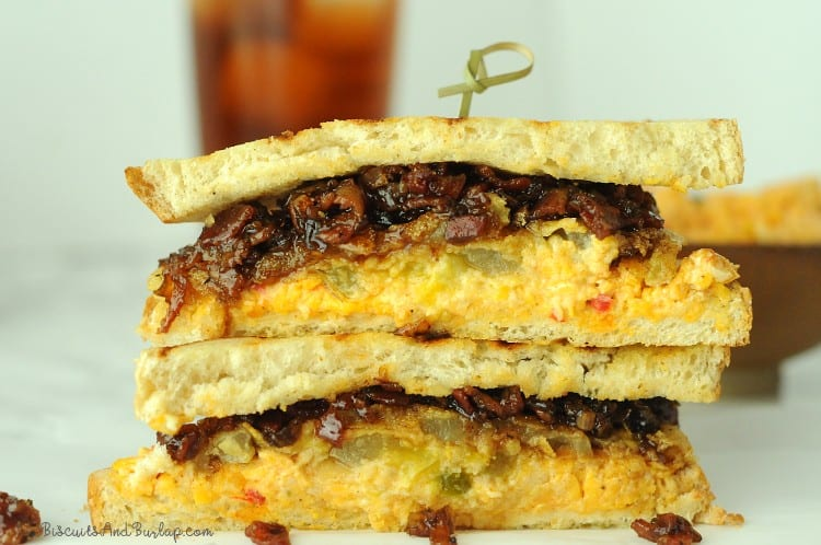 sandwich with fried green tomatoes, pimento cheese, and bacon bourbon jam