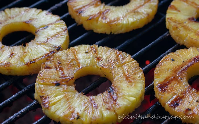 pineapple on hot grill