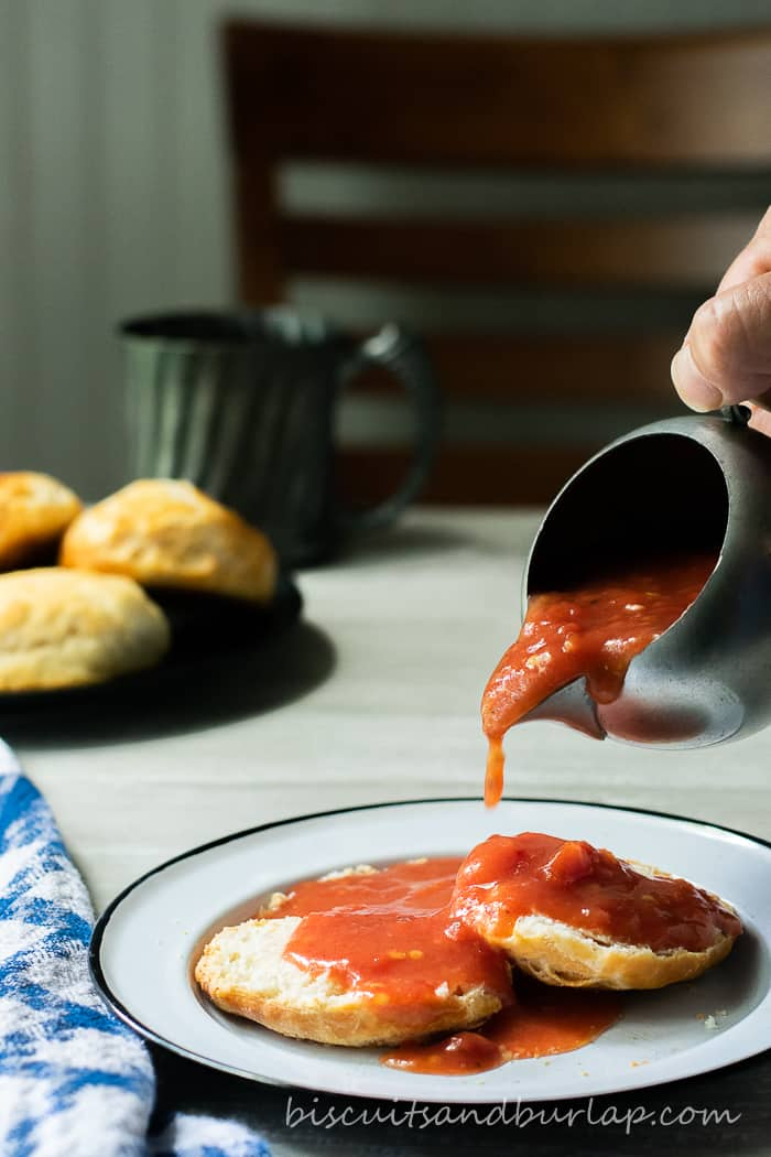 Tomato Gravy over Biscuits is good old fashioned southern comfort food.
