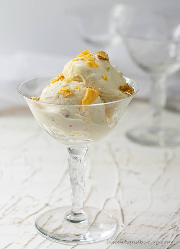 ice cream in champagne glass with pecan brittle on top