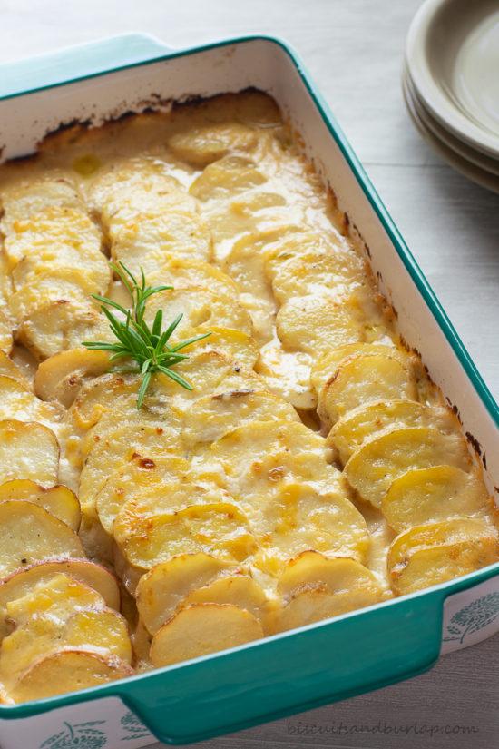 potato gratin with rosemary on top