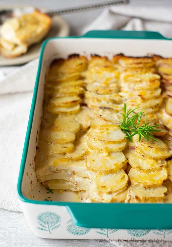potato gratin with scoop out of corner