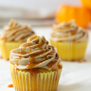 cupcake with caramel drizzle