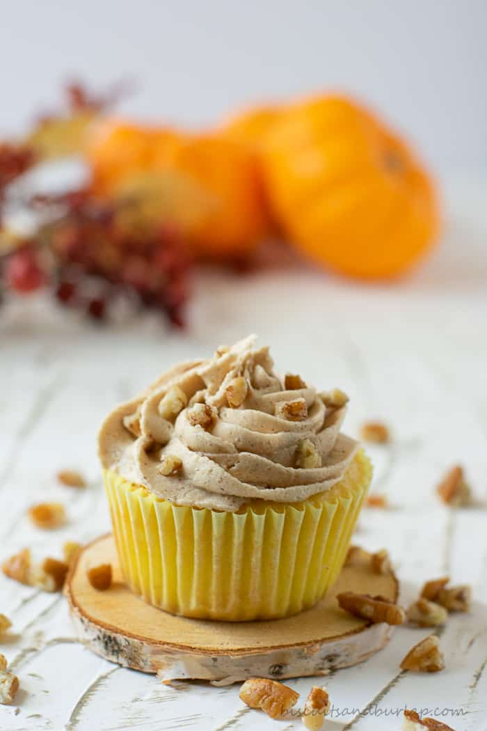 cupcake with pecans on frosting
