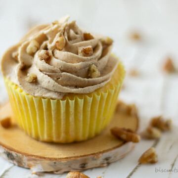 cupcake with pecans on top
