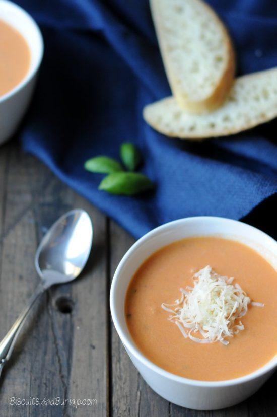 Creamy Tomato Basil Soup with Parmesan