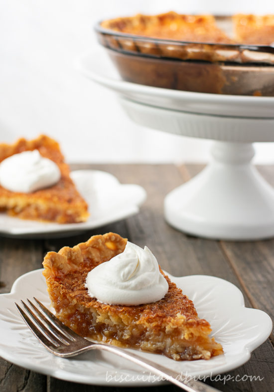 2 slices of coconut pie with whipped cream on top