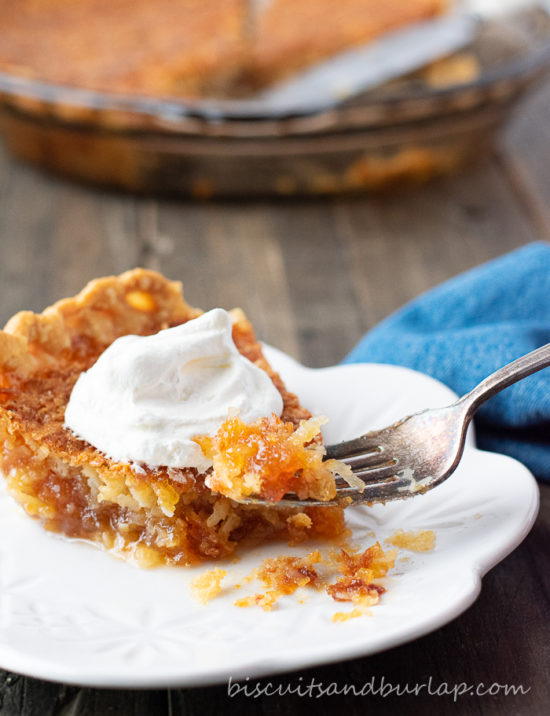 slice of pie with bite on fork