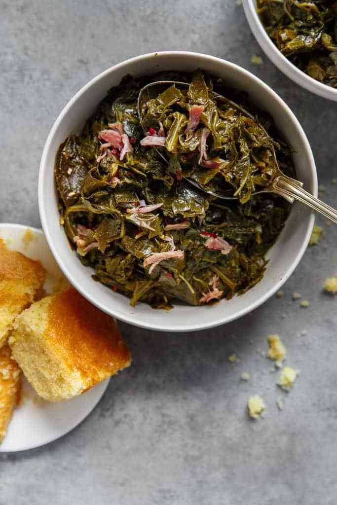 southern collard greens with cornbread
