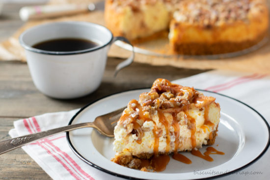slice of apple cheesecake with coffee