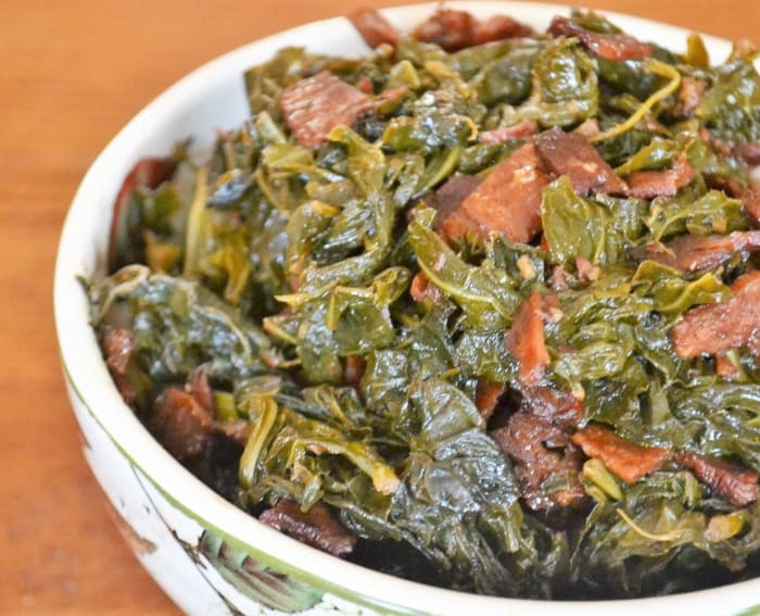 braised collard greens in bowl