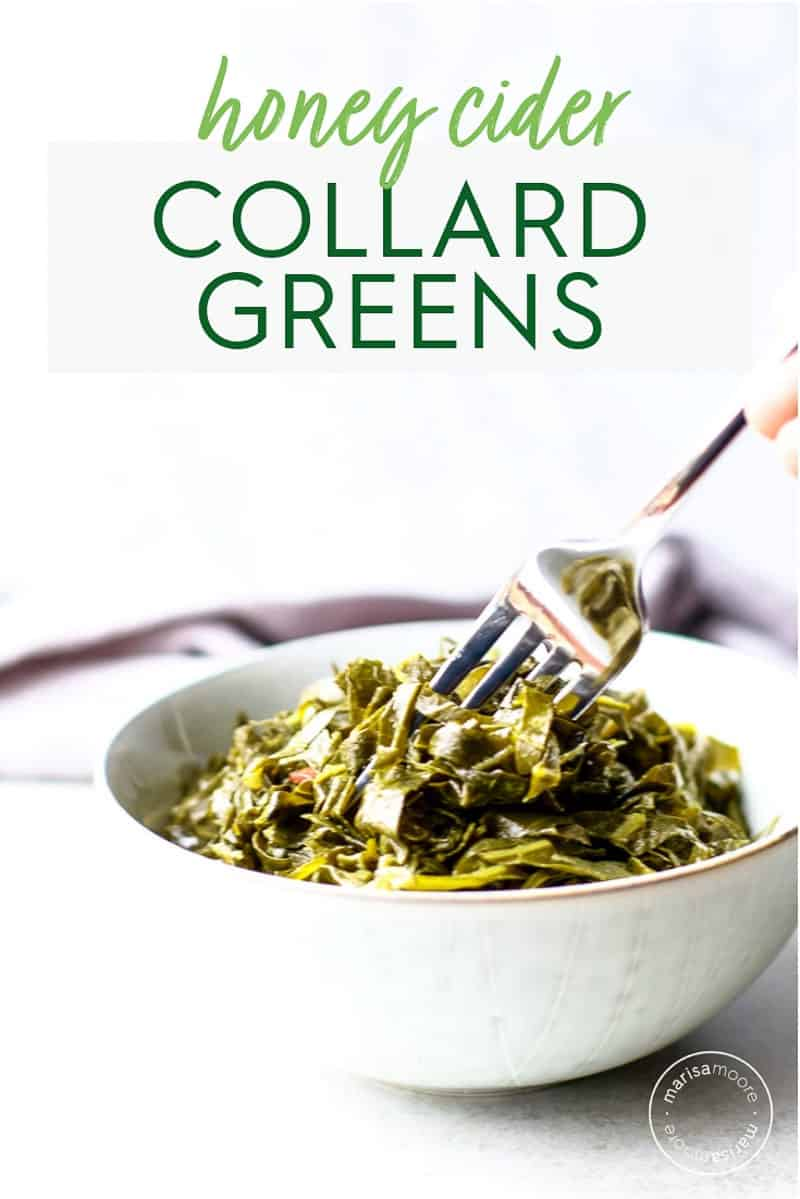 honey cider collard greens in bowl with fork